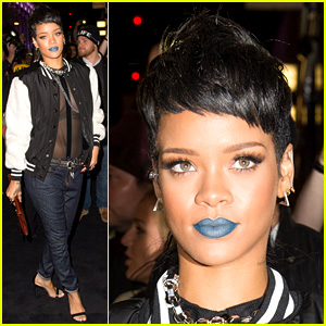 Rihanna: Blue Lips for River Island Collection Launch!