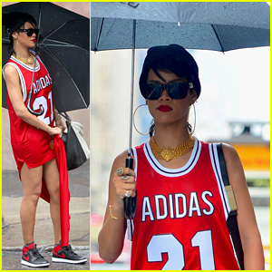 Rihanna Wears Basketball Jersey Dress in Rainy NYC