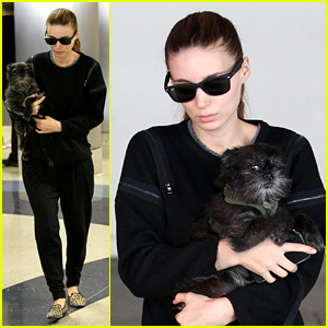 Rooney Mara Holds Pet Pooch Close at the Airport