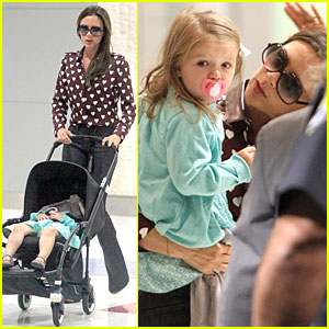 Victoria Beckham Hearts Harper at JFK Airport!