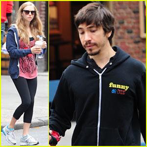 Amanda Seyfried & Justin Long Walk Finn After the Gym!
