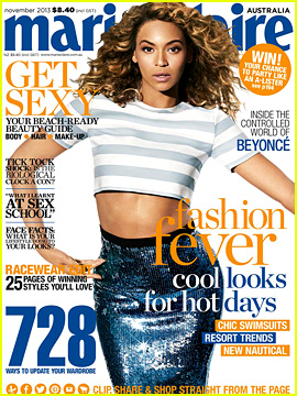 Beyonce Bares Midriff for 'Marie Claire Australia' November 2013