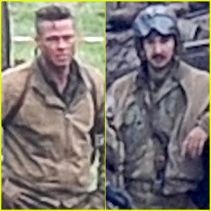 Brad Pitt & Shia LaBeouf Continue Filming 'Fury' in England!