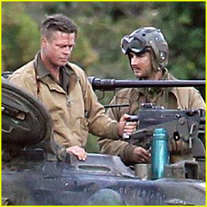 Brad Pitt & Shia LaBeouf Continue Filming 'Fury' Tank Scenes