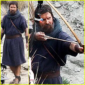 Christian Bale: Scruffy Beard & Tunic Dress for 'Exodus'