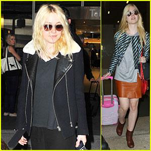 Dakota & Elle Fanning: Separate Landings After Paris Fashion Week