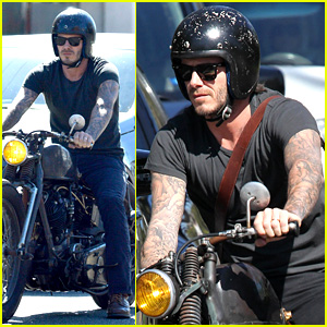 David Beckham Rides Motorycle in Beverly Hills All Week!