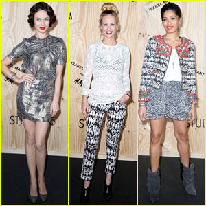 Freida Pinto & January Jones: 'Isabel Marant For H&M' Paris Photo Call
