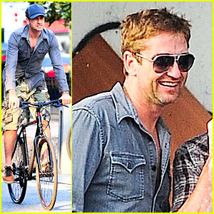 Gerard Butler Camouflages Bike Ride in NYC!