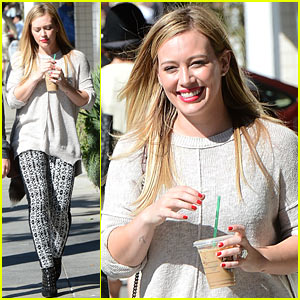 Hilary Duff Caffeinates with Starbucks Coffee To Go!