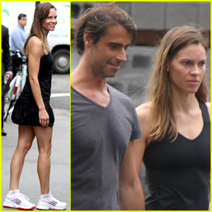 Hilary Swank Practices Tennis Skills Alongside Laurent Fleury!
