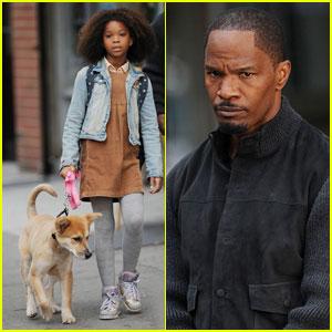 Jamie Foxx & Quvenzhane Wallis: 'Annie' Filming with a Pup!