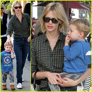 January Jones Takes Baby Boy Xander to Lunch with Friends