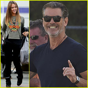 Jessica Alba: 'Englishman' Set with Pierce Brosnan!