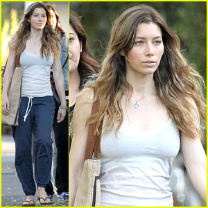 Jessica Biel Shows Off Svelte Body in Tiny Tank for 'Shiva & May'