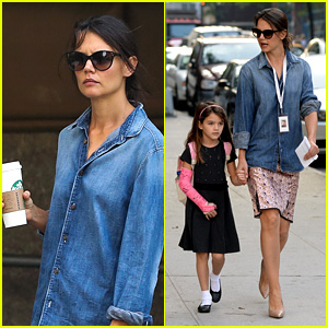 Katie Holmes Takes Friday Morning Stroll with Suri!