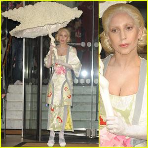 Lady Gaga Carries Oversized Seashell Umbrella Around London