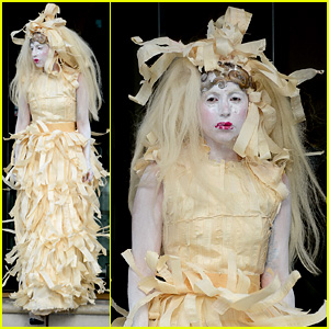 Lady Gaga Steps Out in Full Face Powder & Interesting Dress