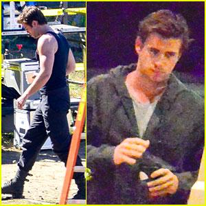 Liam Hemsworth: Gun Show on 'Mockingjay' Set!