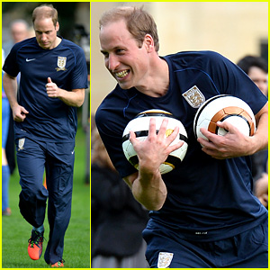 Prince William Plays Soccer on Buckingham Palace Grounds