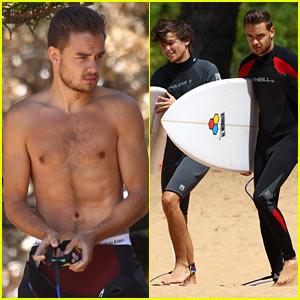 Shirtless Liam Payne & Louis Tomlinson Surf Down Under!