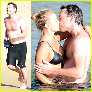 Shirtless Sam Worthington & Lara Bingle: Beach Kissing Couple!