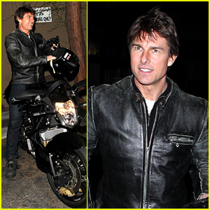 Tom Cruise Rides Motorcycle for Lucas on Sunset Dinner Outing