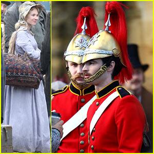 Tom Sturridge & Juno Temple Film 'Madding Crowd' in Period Costumes