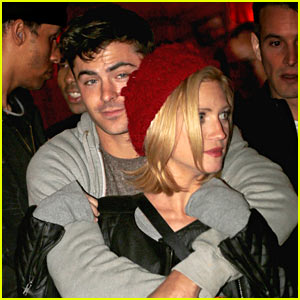 Zac Efron Hugs Brittany Snow From Behind at Haunted Hayride