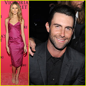 Adam Levine Supports Behati Prinsloo at Victoria's Secret Fashion Show 2013