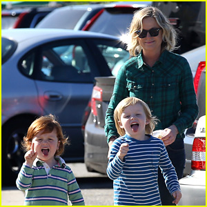 Amy Poehler's Sons Make Funny Faces at Photographers!