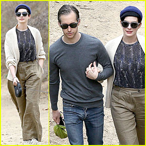Anne Hathaway & Adam Shulman Hold Hands for Intimate Walk