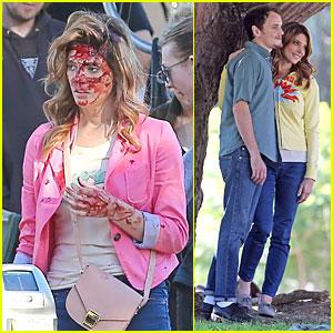 Ashley Greene: Bloody 'Burying the Ex' Set with Anton Yelchin!
