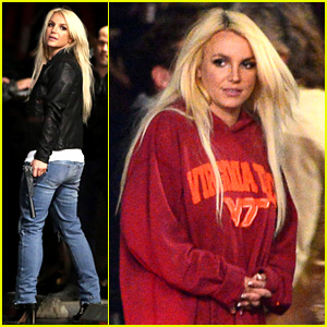 Britney Spears Warms Up in Boyfriend's Virginia Tech Sweatshirt