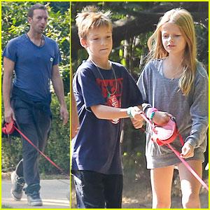 Chris Martin: Stroll with Kids After Kanye West Concert