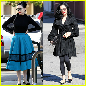 Dita Von Teese Goes Retro for Lunch at Hugo's Tacos
