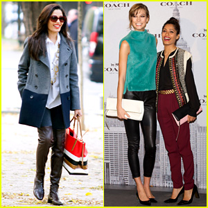 Freida Pinto: Coach Madrid Boutique Opening with Karlie Kloss!