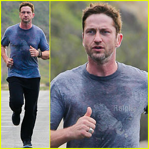 Gerard Butler Works Up a Sweat on Morning Run!