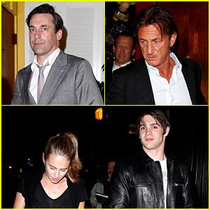 Jon Hamm Dines with Sean Penn & His Kids Dylan & Hopper!