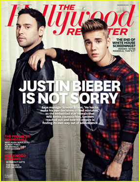 Justin Bieber: 'Hollywood Reporter' Cover with Scooter Braun!