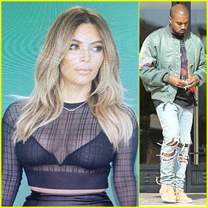 Kim Kardashian Bares Cleavage for Work, Kanye West Shops