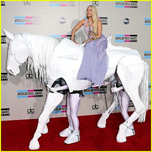 Lady Gaga Rides 'Horse' on AMAs 2013 Red Carpet