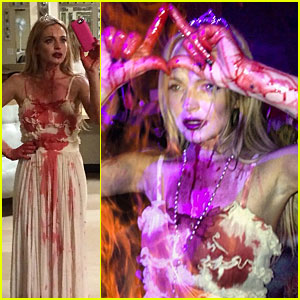 Lindsay Lohan Channels Carrie for Halloween Party!