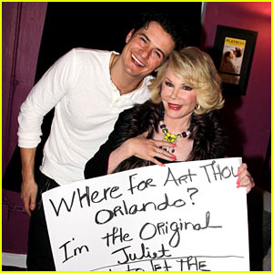 Orlando Bloom Greets 'Original Juliet' Joan Rivers Backstage!
