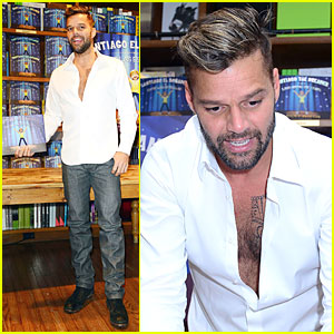 Ricky Martin Flashes Chest Hair for 'Santiago' Signing!