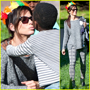 Sandra Bullock Gets Into Thanksgiving Spirit with Son Louis