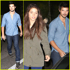Taylor Lautner & Marie Avgeropoulos: L'Ermitage Dinner Date!