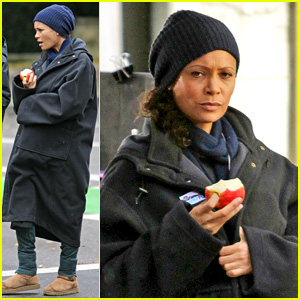 Thandie Newton Keeps Baby Bump Covered on 'Rogue' Set
