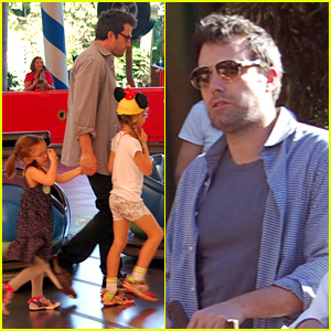 Ben Affleck Rides Bumper Cars at Disneyland with His Girls!