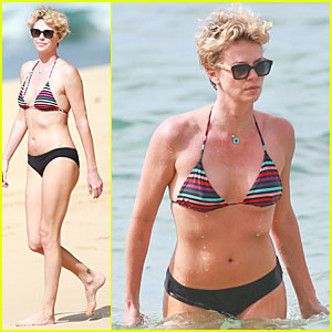Charlize Theron: Colorful Hawaiian Bikini Babe!